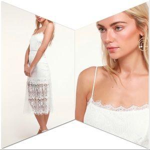 Wagner White Lace Sleeveless Midi Dress